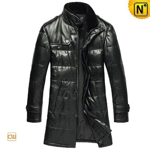 Mens Long Leather Down Coat CW866332 - cwmalls.com