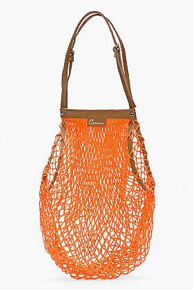CARVEN Orange Leather-Trimmed Net Bag