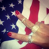 Designer Rachel Roy flashed a peace sign, along with some seriously cool rings. Source: Instagram user rachel_roy