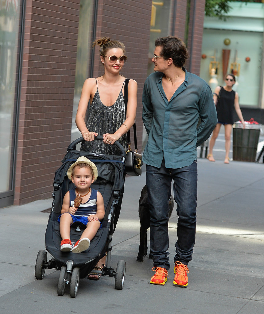 Miranda Kerr, Orlando Bloom and Flynn Go For a Family Stroll in NYC