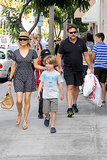 Danielle Spence and Russell Crowe were temporarily reunited as they took their sons on a shopping trip in Beverly Hills on July 4.
