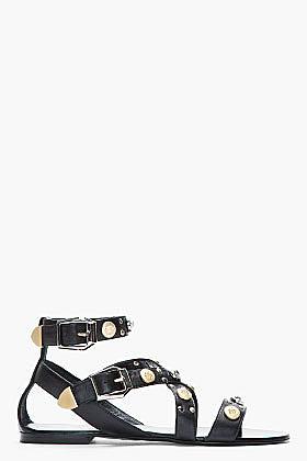 VERSACE Black leater Studded Flat Sandals