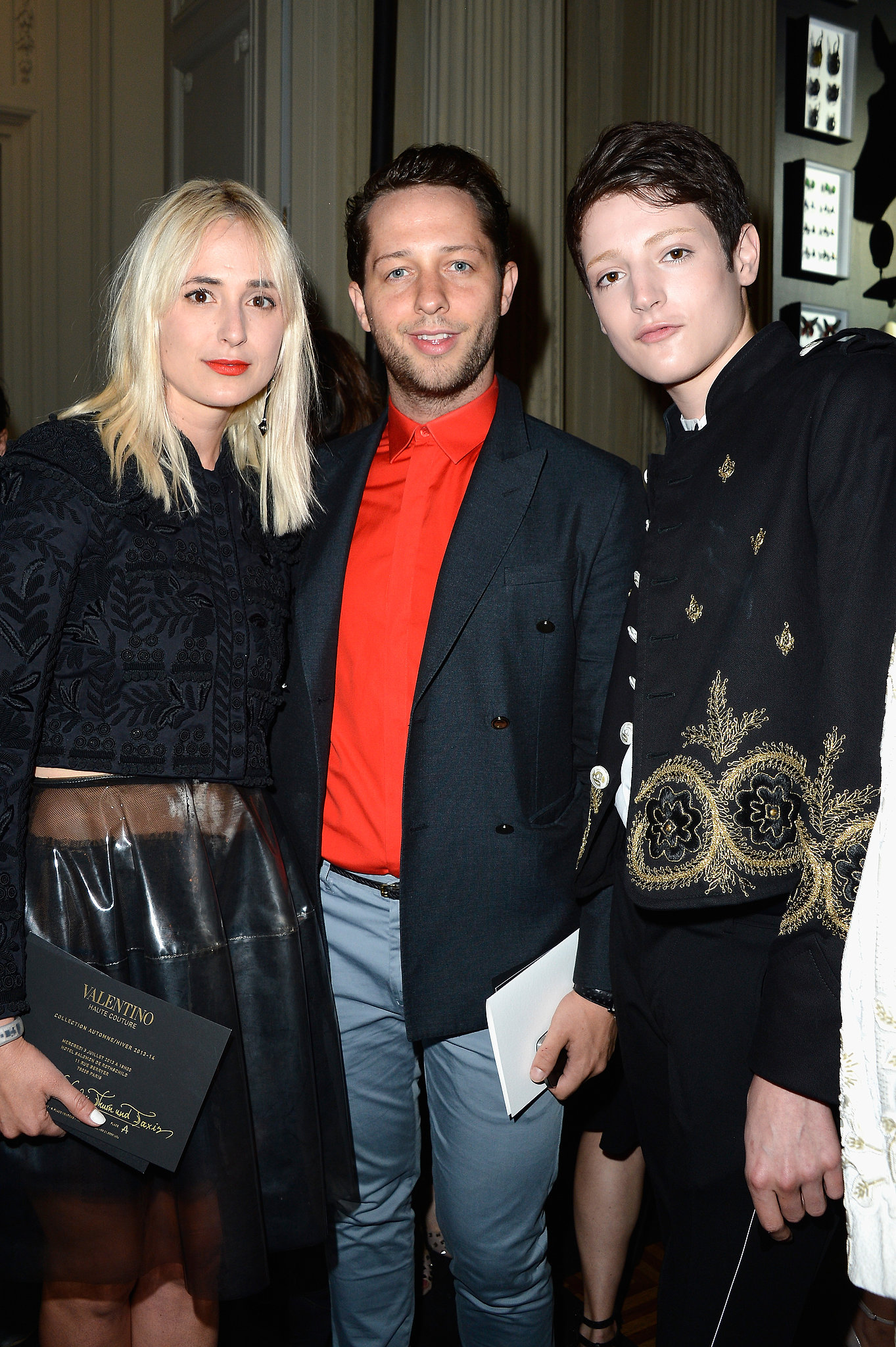 Elizabeth von Thurn und Taxis, Derek Blasberg, and Harry Brant arrived for the Paris Valentino Haute Couture show at Hotel Salomon de Rothschild.