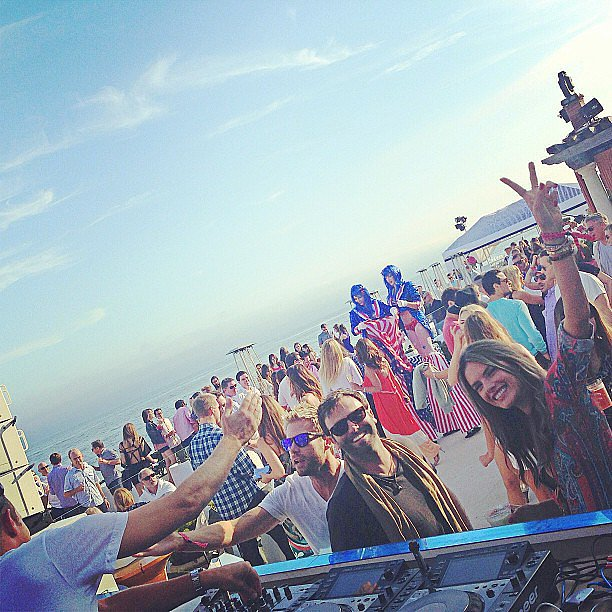 Alessandra Ambrosio partied with a DJ at the beach in Malibu. Source: Instagram user alessandraambrosio
