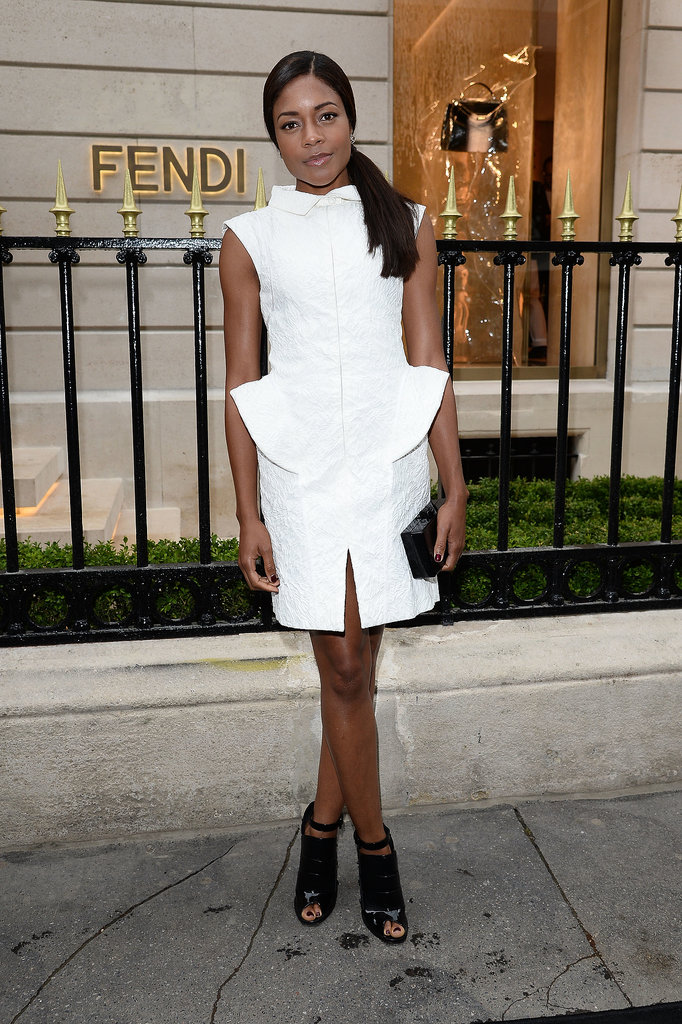 Naomie Harris knows that a white dress is anything but simple when done with sculpted shoulders and hips. We love the style she picked for the opening of a new Fendi boutique in Paris.