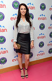 Jessica Lowndes tucked a striped blouse into a black leather skirt, then added a wild finish via a leopard clutch at the Evian Suite during Wimbledon.