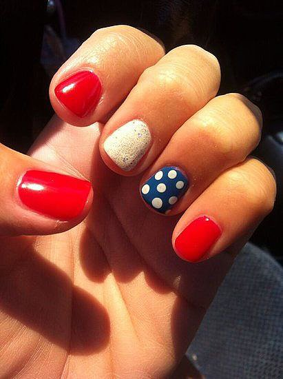 Fourth of July has come and gone, but this simple patriotic manicure will be remembered as the winning nail design out of all our Independence-themed picks.  Source: Twitter user OKCbelles