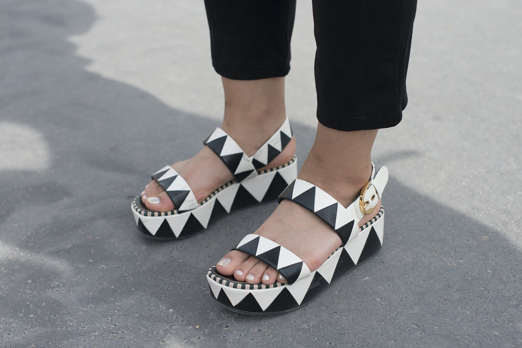 Be right back — going to snag some of these super cool black-and-white patterned Sergio Rossi's.