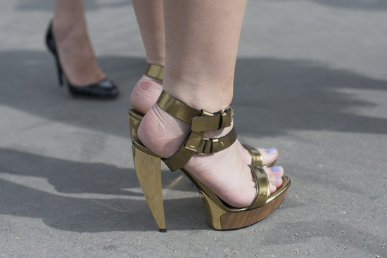 This street-style fashionista struck gold with these Lanvin sandals.