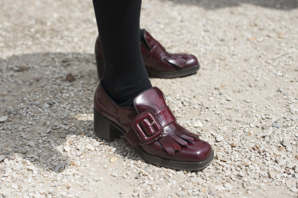A little borrowed-from-the-boys footwear, courtesy of Miu Miu.