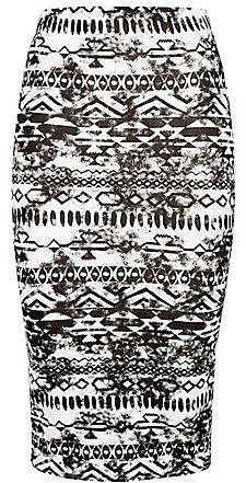 Teens Black Smudged Aztec Midi Skirt