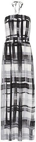 Check bandeau maxi dress