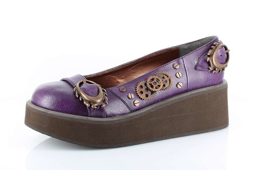 Hades Shoes H-Kitty-Hawk, Double Oval Buckles & Machinery Rivtes-Satin-Boutique.com