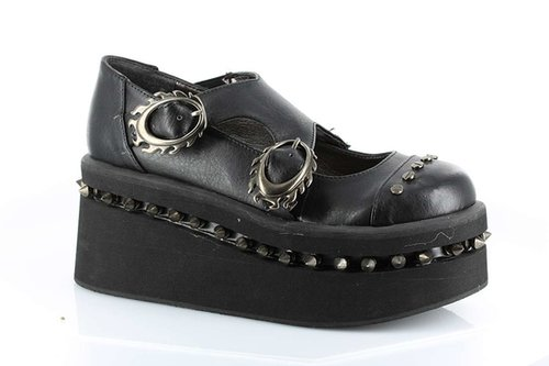 Hades Shoes H-Lillian, Thundra PU & Patent PU with Oval Flamed Buckle-Satin-Boutique.com