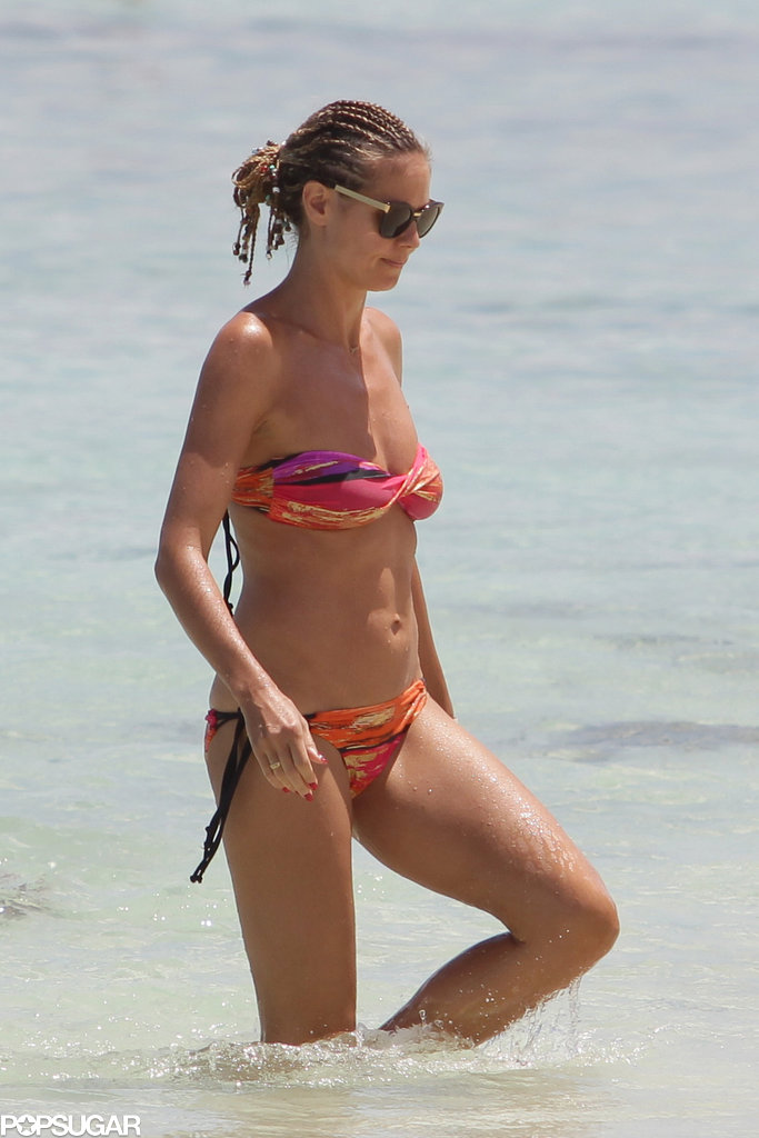 Heidi Klum hit the beach in the Bahamas.