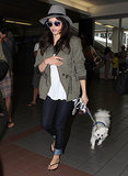 New mom Jenna Dewan made her way through LAX with her dog.