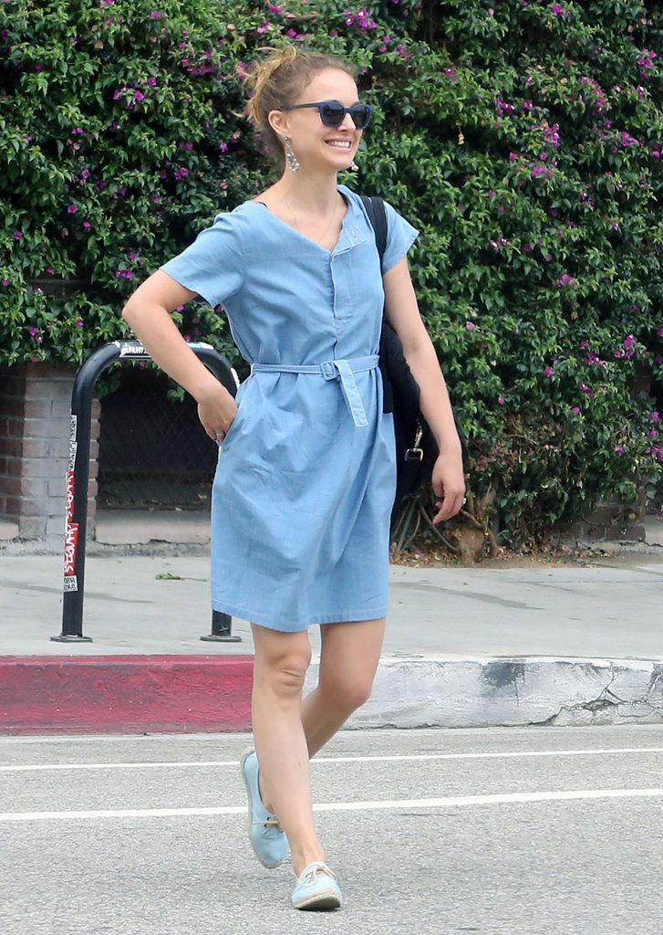 Natalie Portman wore a blue dress for an afternoon with her family.