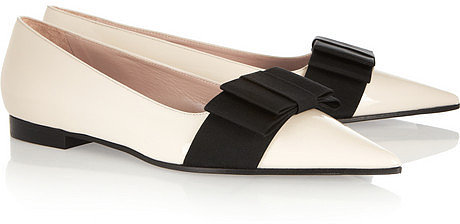 Miu Miu Bow-embellished patent-leather loafers