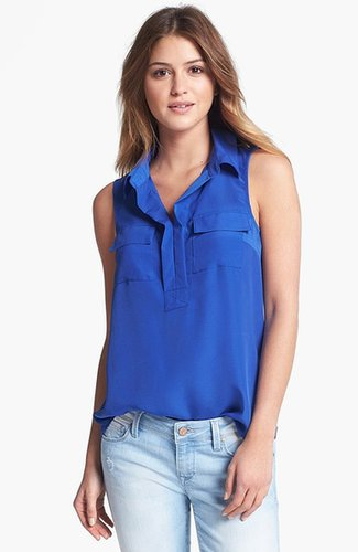 Kensie Mixed Media Sleeveless Blouse