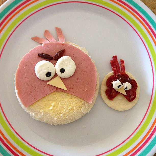 What do you get when bologna meets marshmallows meets cheese and crackers? Why, an Angry Birds after-school snack, of course.  Source: Instagram user mrs_aitken