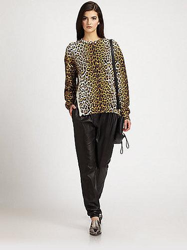 3.1 Phillip Lim Leopard-Print Cotton Terry Sweatshirt