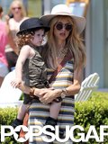 Rachel Zoe carried her son, Skyler, in Malibu on Friday.