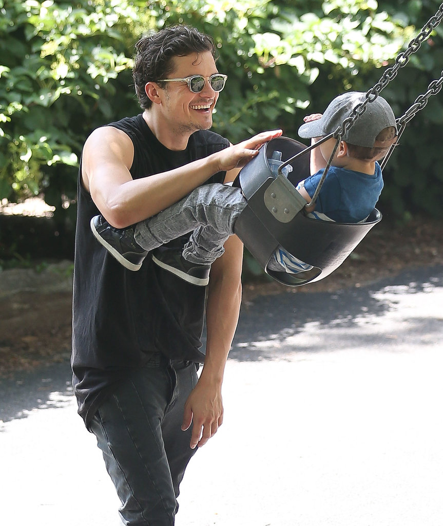 Orlando Bloom played with his son, Flynn, at Central Park in NYC on Saturday.