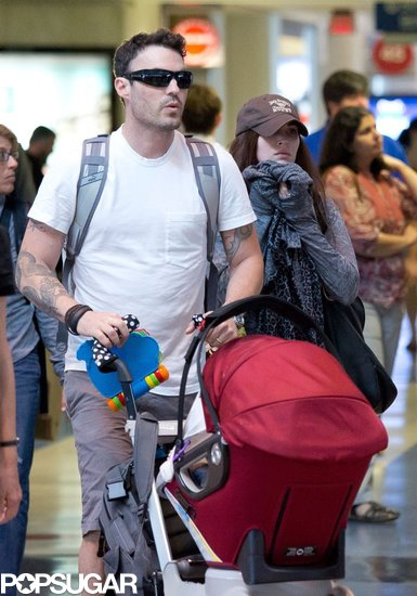 Megan Fox and Brian Austin Green went to LAX with their son, Noah, on on Sunday.