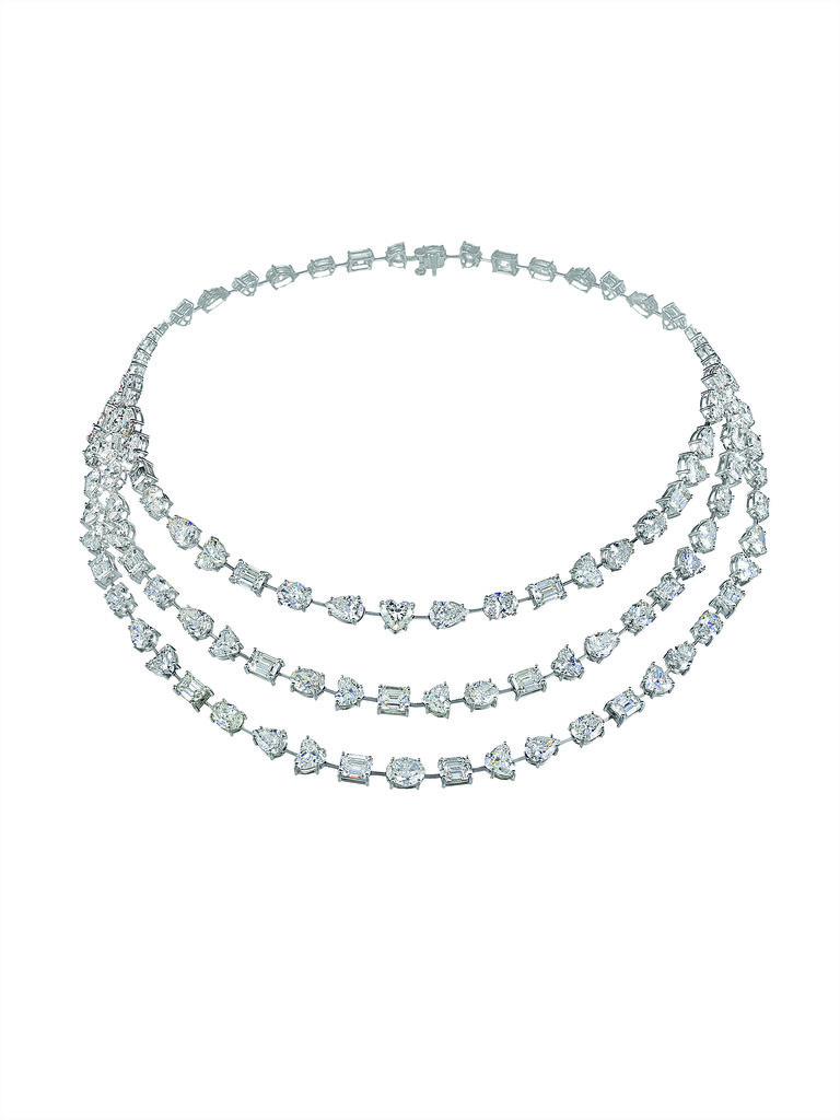Fancy-cut white diamond necklace set in platinum. Source: Chopard