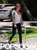 Kristen Stewart wore jeans and sneakers for a studio stop in LA.