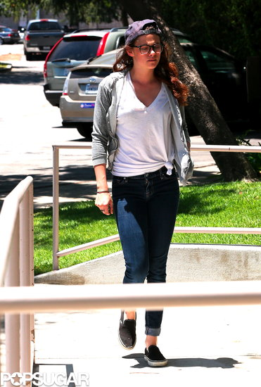 Kristen Stewart wore a white t-shirt in LA.