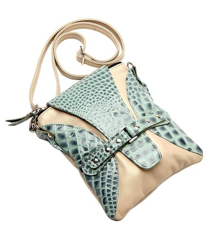 Ella  Crossbody Bag Croco Azure with Accent of Pearlized Biege