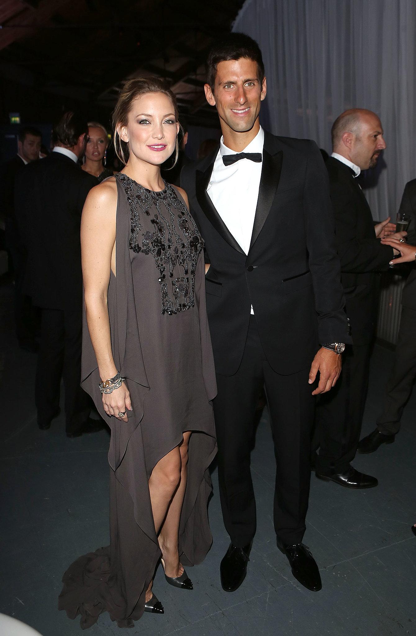 Novak Djokovic got Kate Hudson on the court at his London gala dinner.