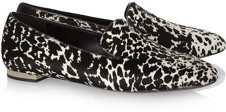 Burberry Prorsum Animal-print calf hair slippers