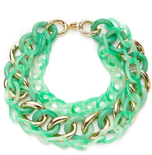 Interlocking Jade Green & Gold Triple Strand Necklace