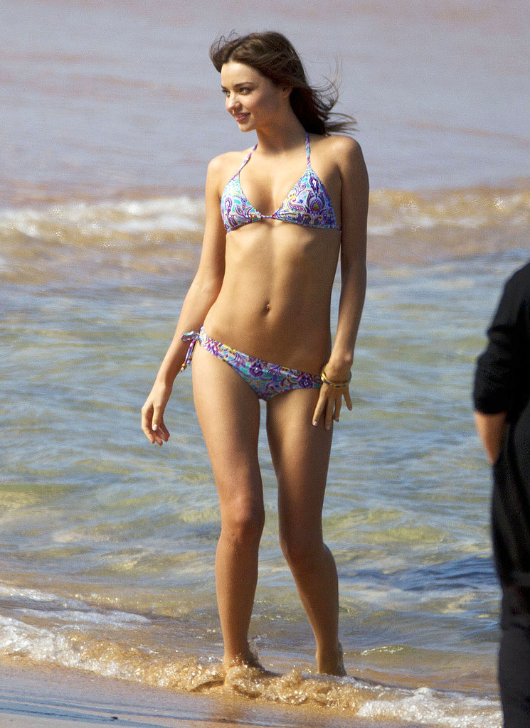 Miranda Kerr broke out her bikini on the beach in Sydney in August 2012.