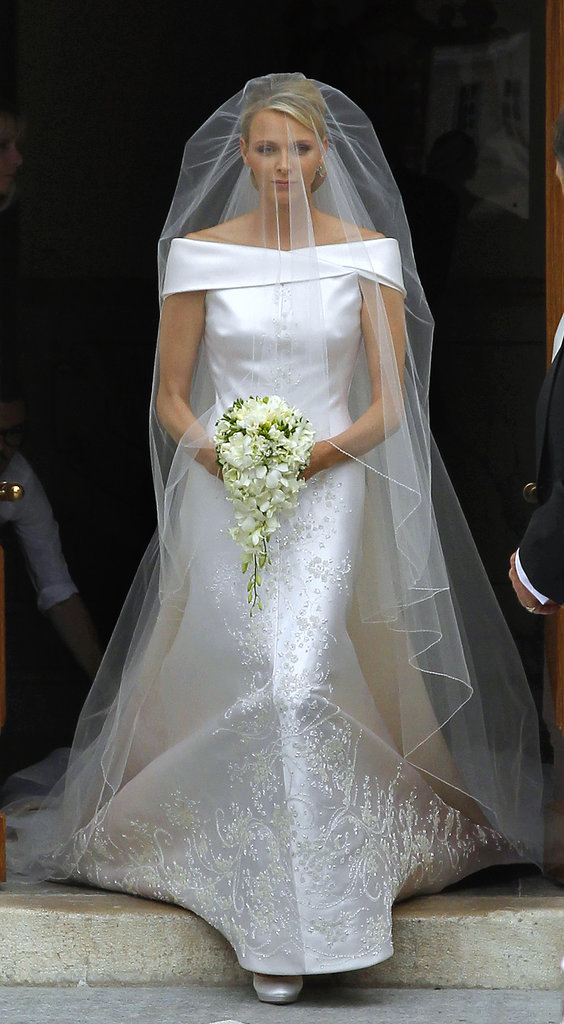 A regal dress for a royal bride! Charlene Wittstock became princess of Monaco in July 2011 while walking down the aisle in Armani Privé.