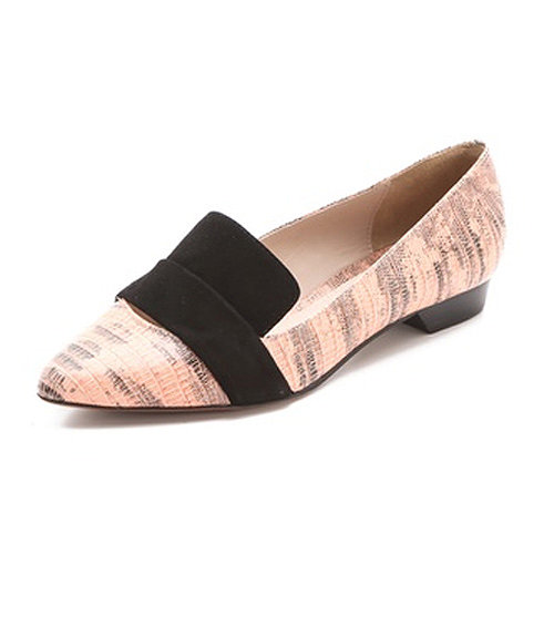 We love the blush lizard of this pointy-toe flat ($295).