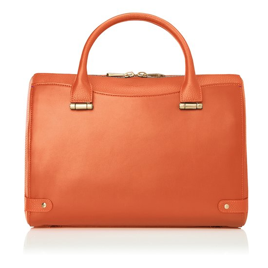 This Italian calfskin leather bag comes in rich autumnal hues including olive green, black, and this muted orange. Source: LK Bennett
