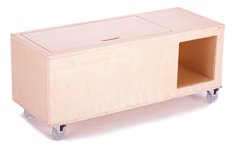 Argington's Fuji Toy Box ($420) features multiple storage spaces and roller wheels. We're envisioning the clean birch finish in an airy, loft-like space.