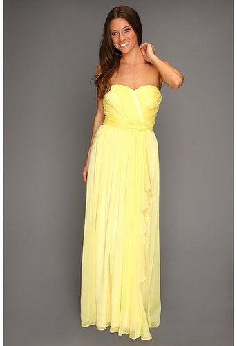 Jessica Simpson - Strapless Sweetheart Cascade Ruffle Gown (Lemon Peel) - Apparel