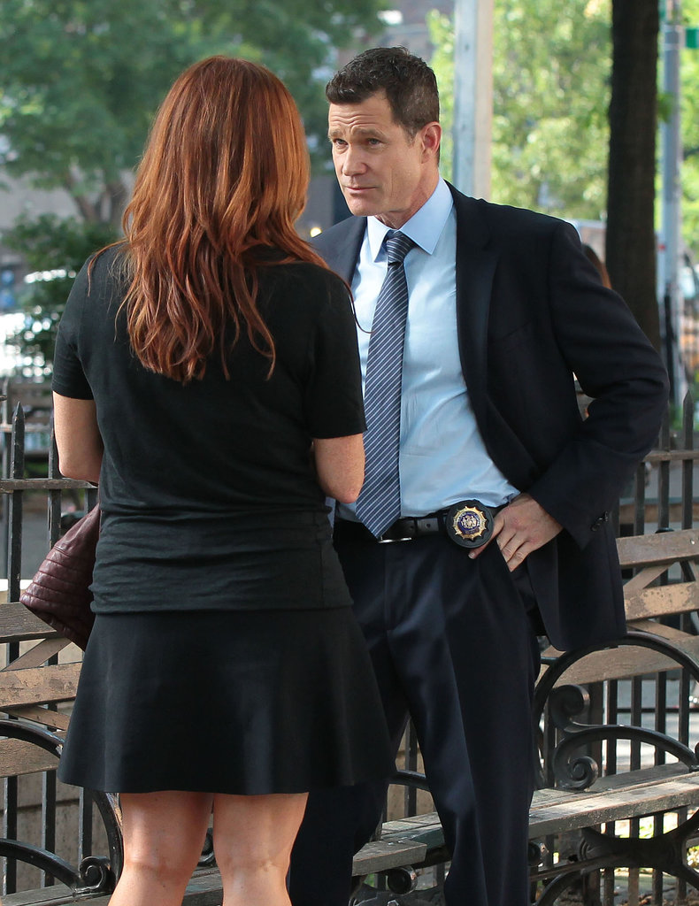 Dylan Walsh shot a scene in NYC with Poppy Montgomery on Tuesday for the TV show, Unforgettable.