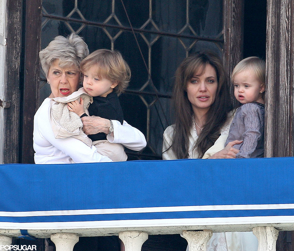Brad Pitt's mother, Jane, joined Knox Jolie-Pitt, Vivienne Jolie-Pitt, and Angelina Jolie on their palazzo's balcony in Venice, Italy, in April 2010.