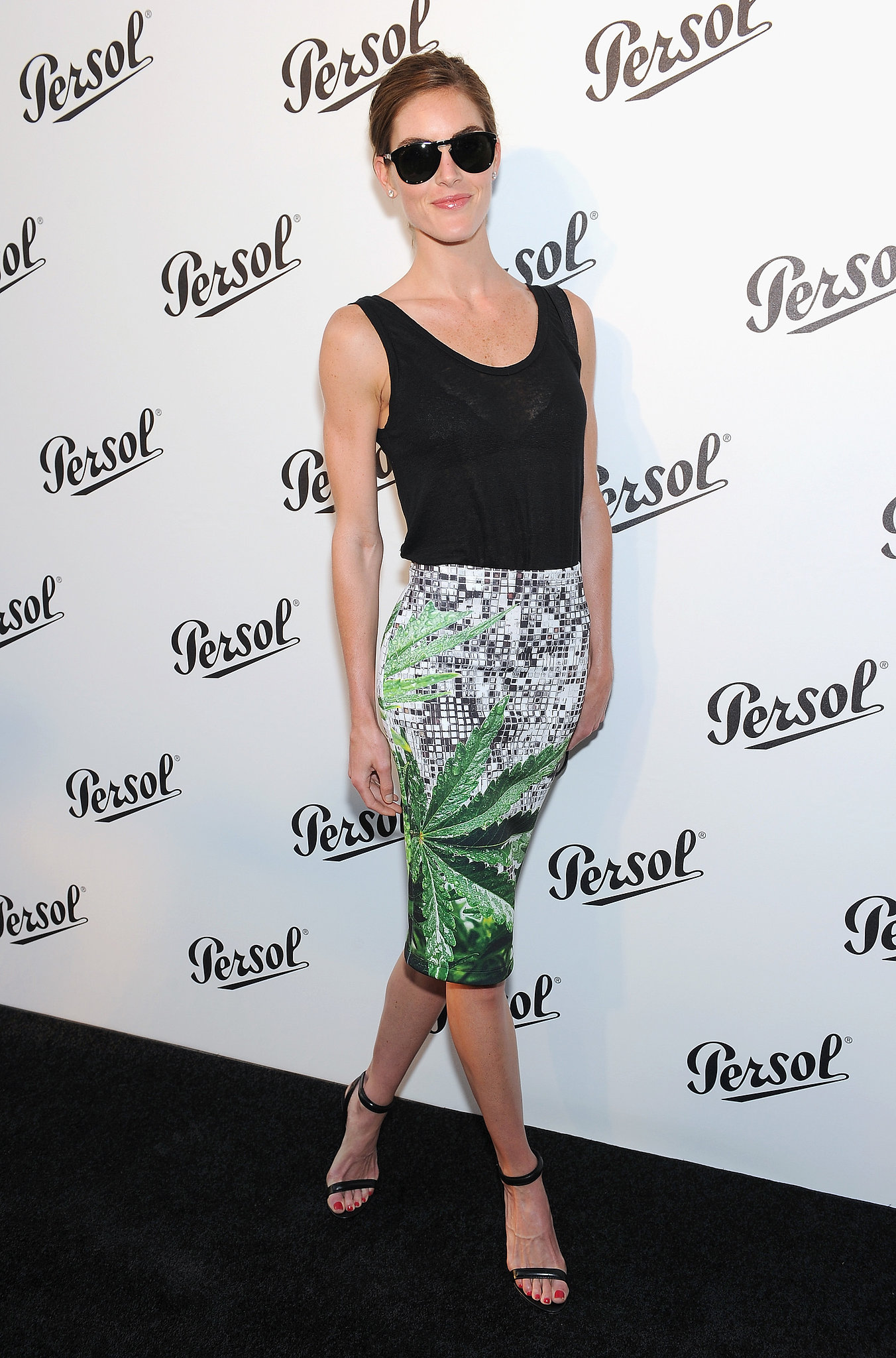 Hilary Rhoda accessorized her summery separates with a striking set of shades at the Persol party.