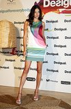 Adriana Lima was flirty in her colorful sleeveless dress at Barcelona Fashion Week.