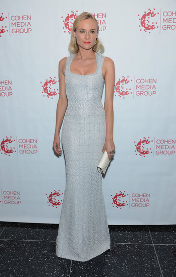 For the NYC premiere of Farewell, My Queen, Kruger chose elegant simplicity in a formfitting brocade gown, white leather clutch, and punchy pink lip.
