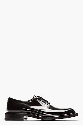SAINT LAURENT Black patent leather Classic derbys