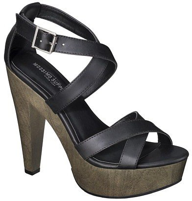 Women's Mossimo Supply Co. Wandy Wood Heeled Strappy Sandal - Black