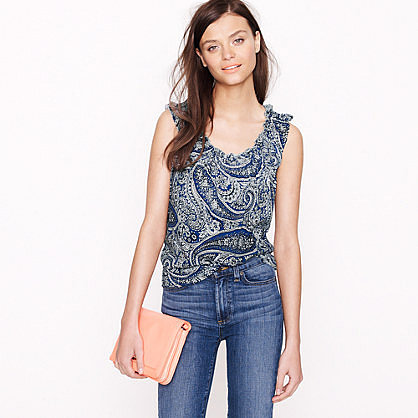 Smocked top in antique paisley