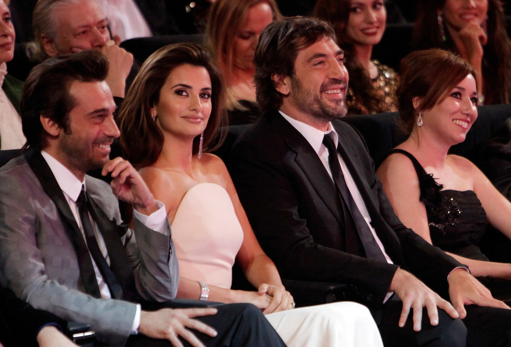 Javier Bardem sat with Penélope Cruz at the Goya Awards in February 2010 in Madrid.